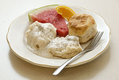 breakfast plate of biscuits and gravy